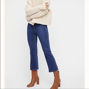 Free People Ultra High Pull On Crop Boot Cut Jeans